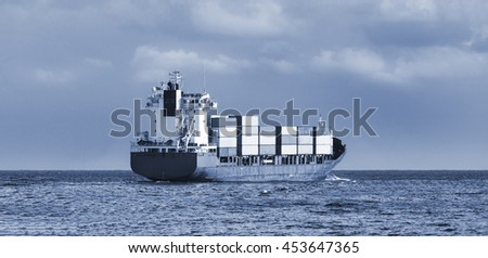 cargo ship in the ocean in the sky