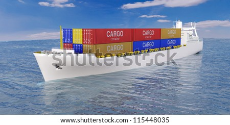 cargo ship in the sea with a set of containers - stock photo