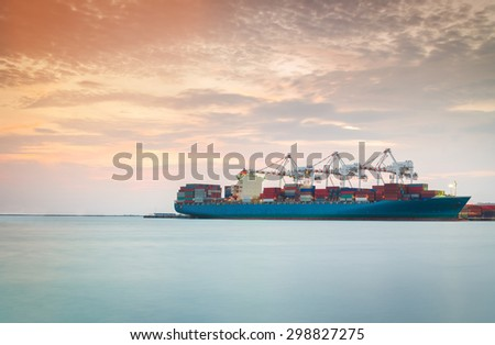 Cargo ship in the Trade Port , Container , Shipping , Logistics , Transportation Systems - stock photo