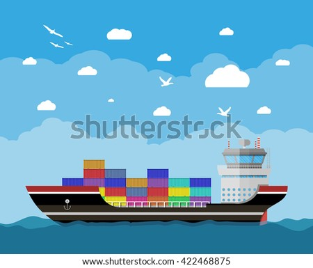 Cargo ship in water, blue sky with clouds and seagulls. Freight shipping by water. Commercial container ship, industrial and logistic, illustration in flat design  - stock photo
