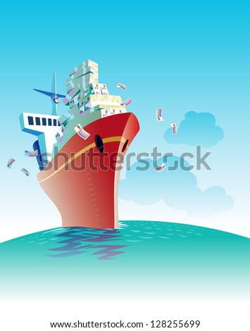 Cargo ship is sailing with a load of money. Raster image. Find an editable vector version in my portfolio. - stock photo