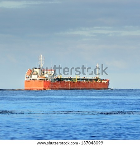 Cargo ship leaving port