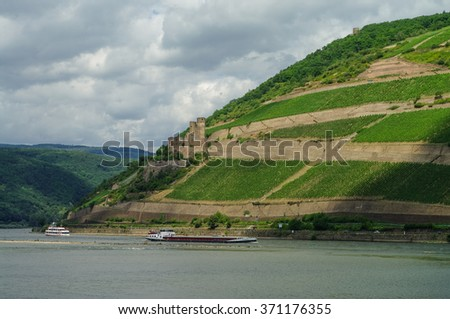 Cargo ship, medieval castle (fortress) Ehrenfels and vineyards on the slope of Rhine river bank, Ruedelsheim, Hessen, Germany - stock photo