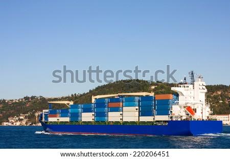 cargo ship on the marmara sea, Turkey. - stock photo