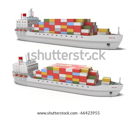 Cargo ship on white background , 3D image. My own design. - stock photo