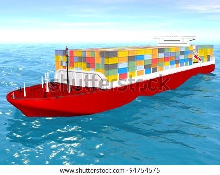 Cargo ship sails across the Ocean. - stock photo