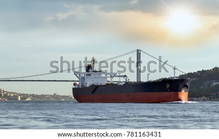 Cargo ship tanker in the Channel Bosphorus Strait international logistic sea, Istanbul, Turkey