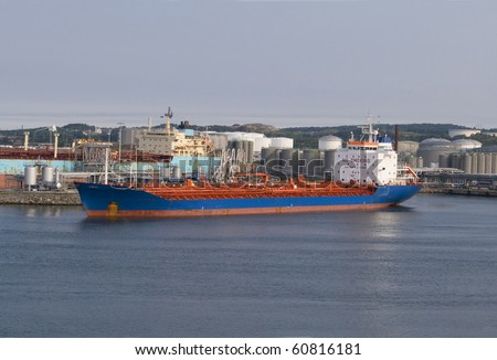 Cargo ship transporting dangerous chemicals - stock photo