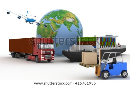 Cargo ship, truck, plane and loader with boxes. 3d image - stock photo