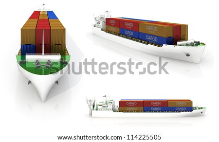 Cargo ship with a set of containers - stock photo