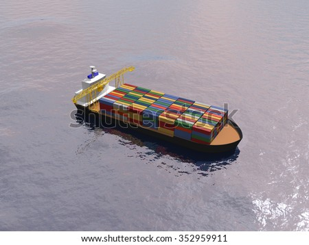 Cargo ship with big crane transporting containers in a calm ocean. - stock photo