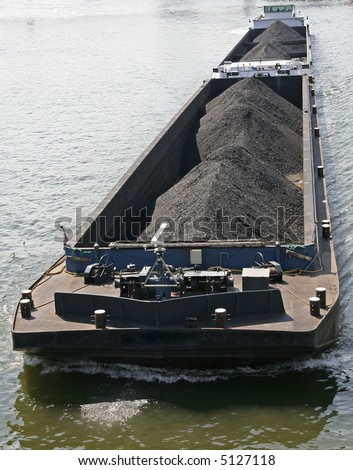 Cargo Ship with bulk load. Coal.