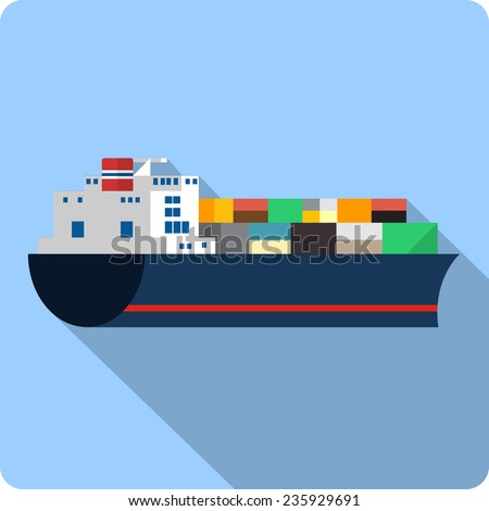 Cargo Ship with Containers - stock photo