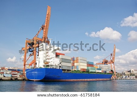 Cargo ship with freight containers - stock photo