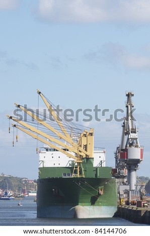 cargo  ships in the port of Aviles, Asturias, Spain