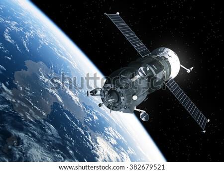 Cargo Spacecraft Orbiting Earth. 3D Scene. - stock photo