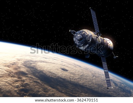 Cargo Spacecraft Orbiting Earth. 3D Scene. (NASA Images NOT USED!) - stock photo