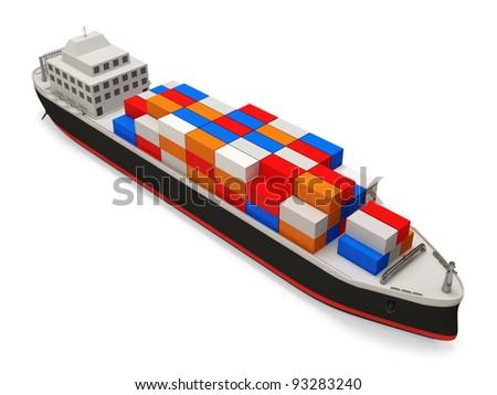 Cargo Tanker on white background - stock photo