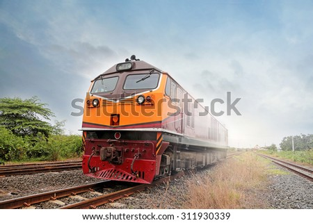 Cargo train in Chachoengsao junction,Thailand - stock photo