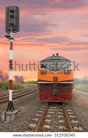 Cargo train in Chachoengsao junction,Thailand - stock photo