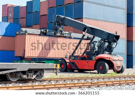 Cargo train platform with freight train container  - stock photo