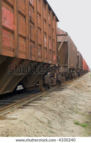 cargo train shot with diminishing perspective - stock photo