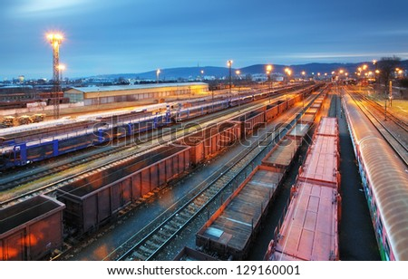 Cargo train trasportation - Freight railway - stock photo