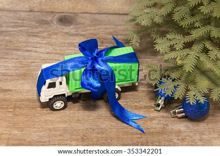 Cargo transport have luck gifts for the New Year - stock photo