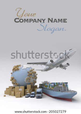 Cargo transportation image with the Earth, cardboard boxes and a whole shipping fleet including cargo ship, plane, truck, lorry, van, etc.. - stock photo