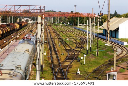 cargo transportation in tanks by rail - stock photo
