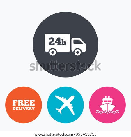 Cargo truck and shipping icons. Shipping and free delivery signs. Transport symbols. 24h service. Circle flat buttons with icon. - stock photo