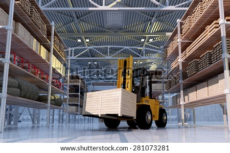 Cargo truck at the warehouse. - stock photo