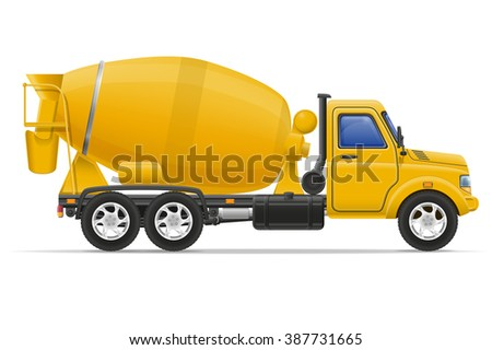 cargo truck concrete mixer illustration isolated on white background