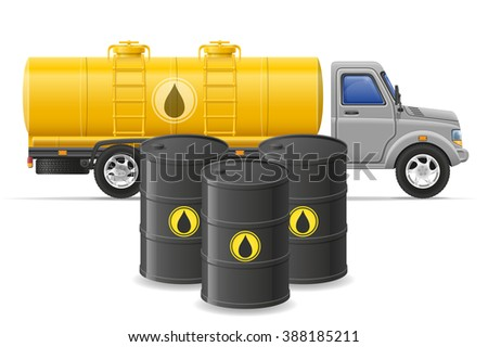 cargo truck delivery and transportation of fuel for transport concept illustration isolated on white background - stock photo