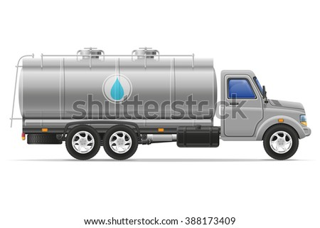 cargo truck with tank for transporting liquids illustration isolated on white background - stock photo