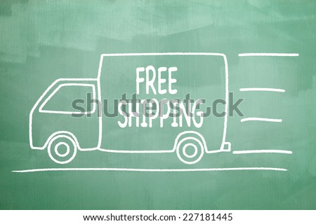 Cargo Van illustration drawn on a green chalkboard with the message Free Shipping written in it. Real chalkboard background for your own promotional messages and designs.