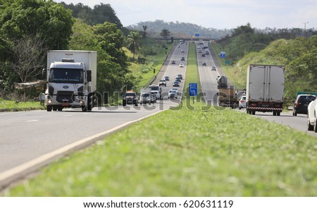 Cargo vehicles movement on highway BR 324 in Simoes Filho (BA), Brazil. The federal highway is one of the main access to the city of Salvador. - March 24, 2017.