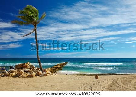 Caribbean beach and tropical sea in Haiti - stock photo