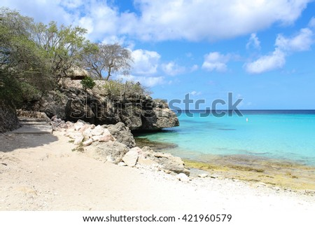 Caribbean Beach Entry in Curacao at Grote Knip