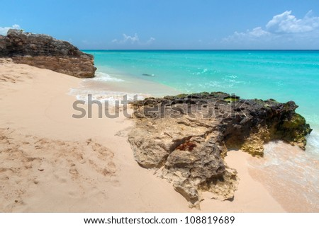 Caribbean beach in Mexico - stock photo