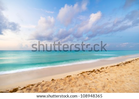 Caribbean beach in Playacar of Mexico - stock photo