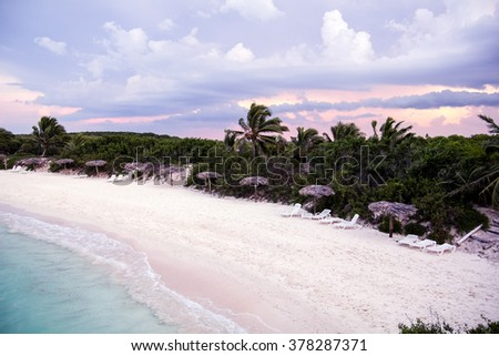 Caribbean beach in the Keys of St. Mary, an island surrounded by reefs, clear waters and white sands. - stock photo