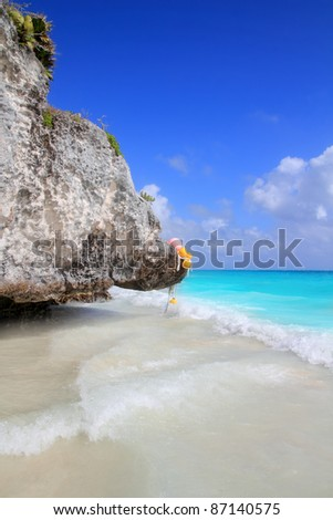 Caribbean beach in Tulum Mexico under Mayan ruins Mayan Riviera - stock photo
