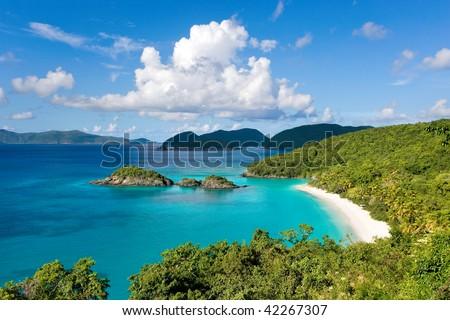 caribbean beach in virgin islands resort destination called world famous trunk bay - stock photo