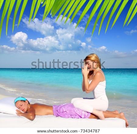 Caribbean beach massage meditation shiatsu woman in paradise [Photo Illustration] - stock photo