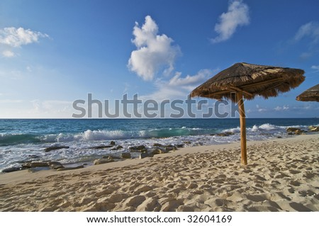 Caribbean Beach Palapa - stock photo