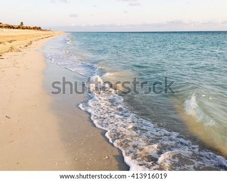 Caribbean beach view in Varadero, Cuba - stock photo