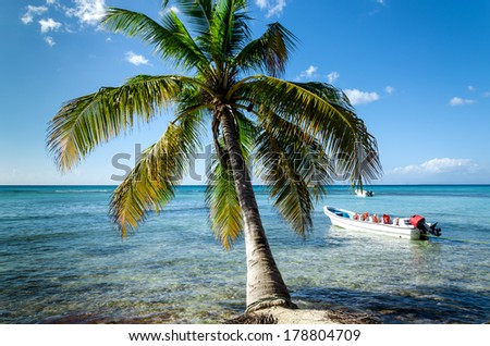 Caribbean beach with boat floating on the sea - stock photo