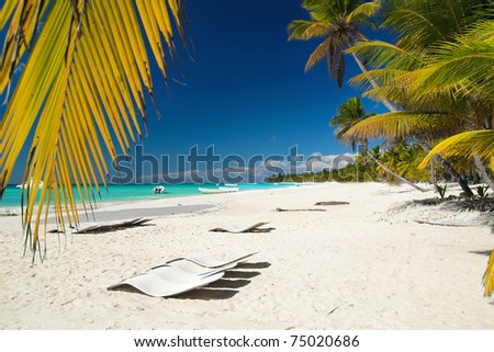 Caribbean beach with chaise longues - stock photo
