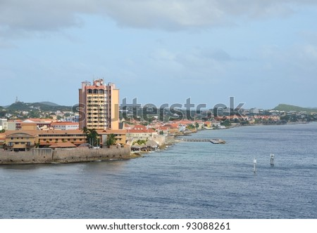 Caribbean coastline of Curacao near the capital city of Willemstad - stock photo